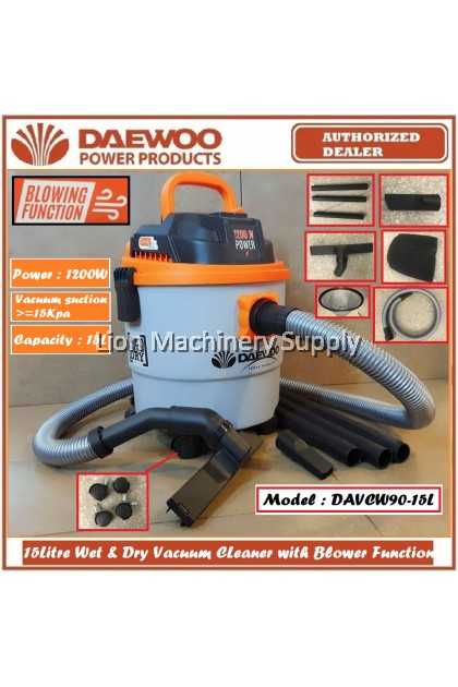 DAEWOO 15Litre Wet & Dry Vacuum with Blower Function 1200W DAVCW90-15L - KOREA Technology - 6 Months Warranty -