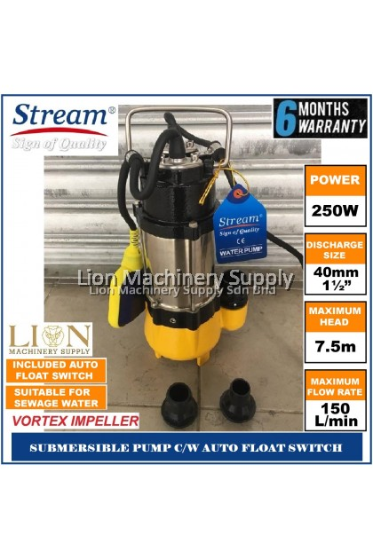 Stream 250W Sewage Submersible Water Pump V250F with AUTO Float Switch - 6 Months Local Warranty -