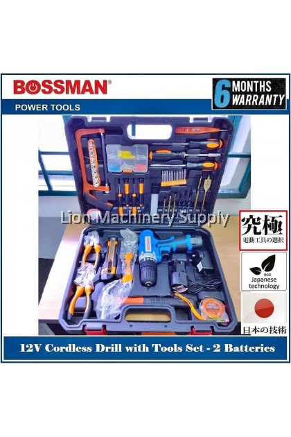 BOSSMAN 12V Lithium -lon Cordless Drill Driver(with tools kit) BCD12SET - 6 Months Local Warranty -