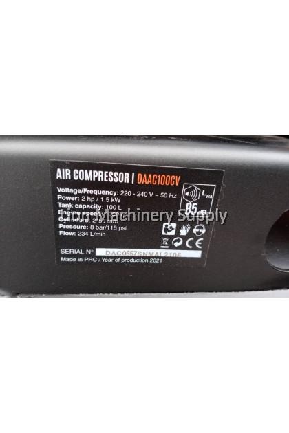 DAEWOO 2HP 100Litre 8Bar/115psi Belting Type Air Compressor DAAC100CV - Brand KOREA - 6 Months Local Warranty -