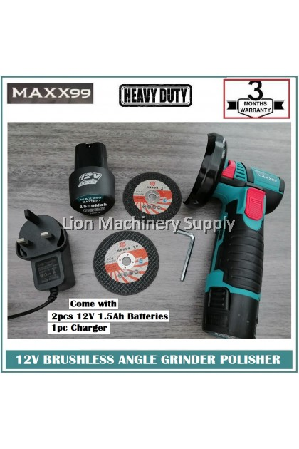 MAXX99 12V BRUSHLESS CORDLESS ANGLE GRINDER POLISHER - C/W 2pcs 1.5Ah batteries & 1pc Charger - Free 2 cutting disc -